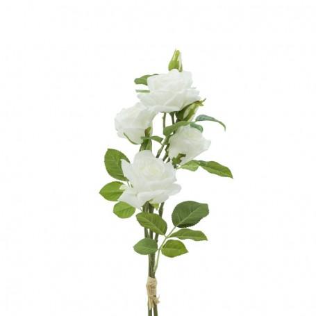 Fascio di Rose e Boccioli Bianco H.75 cm