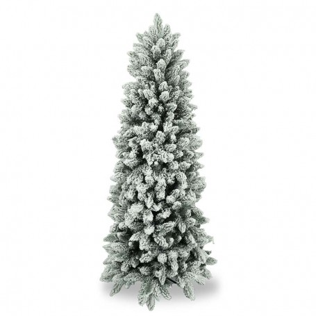 Albero Di Natale Slim 210.Albero Slim Innevato In Pe Pvc H 180 210 Cm Alpino