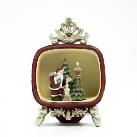Tv con Babbo Natale e Alberi Disponibile in 2 Colori H.15 cm
