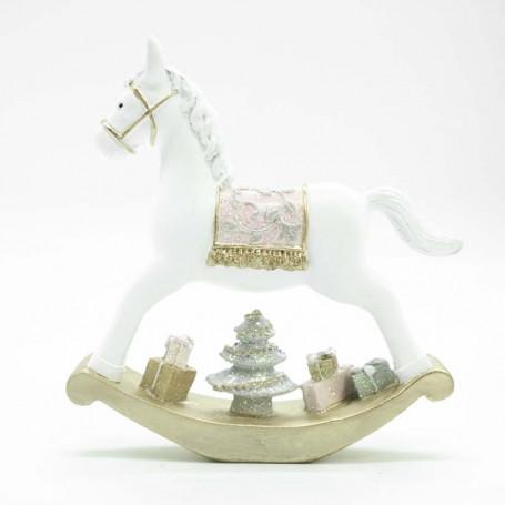 Cavallo a Dondolo in Poliresina Bianco e Rosa Disponibile in Tre Misure