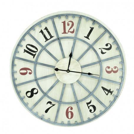 Orologio in Legno con Numeri Rossi e Neri D.58 cm