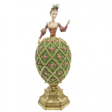 Dama Uovo con Scrigno in Resina H.20 cm 2 Versioni