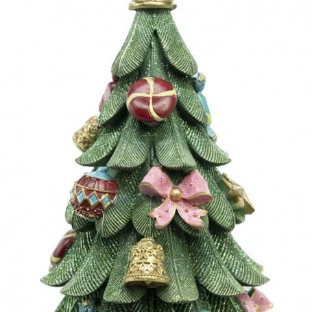 Immagini Alberi Di Natale.Albero Di Natale Addobbato In Resina Con Luci E Musica H 58 Cm