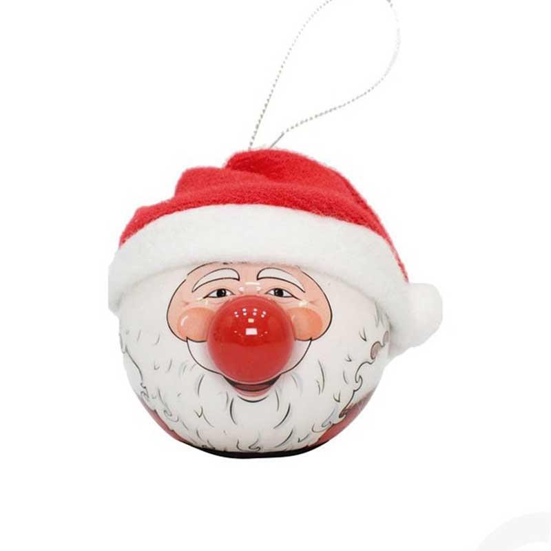 Babbi Natale.Palla Di Babbo Natale Con Naso Led 65 Mm