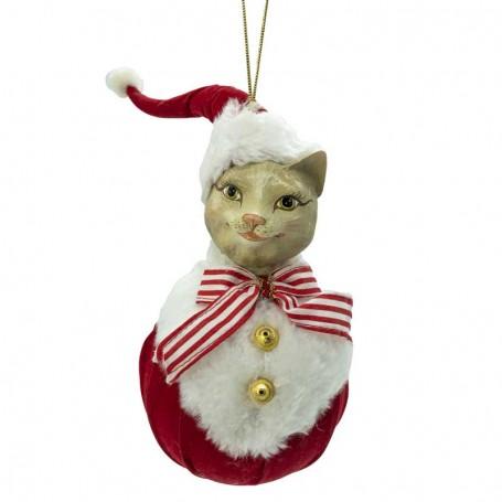 Gatto da Appendere con Abito di Babbo Natale