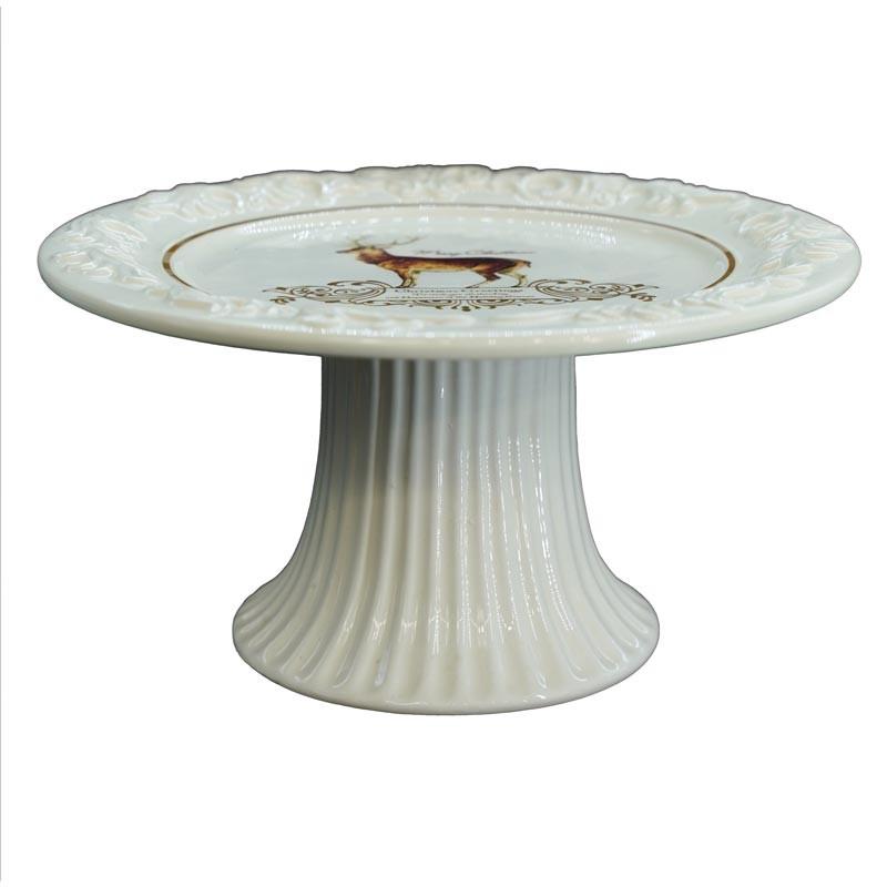 Alzatina per Torta in Ceramica Bianca con Renna H.10xD.20 cm
