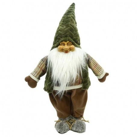Babbo Natale in Piedi in Tessuto Grigio H.66 cm