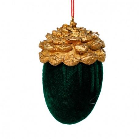 Pigna in Resina Oro e Velluto Verde H.10xD.6 cm