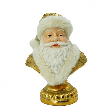 Busto di Babbo Natale in Resina Bianco e Oro 23 x 15 x 32 cm