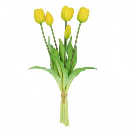 Fascio di 5 Tulipani Gialli 39 cm