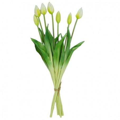 Fascio di 7 Tulipani Bianchi e Verdi 44 cm